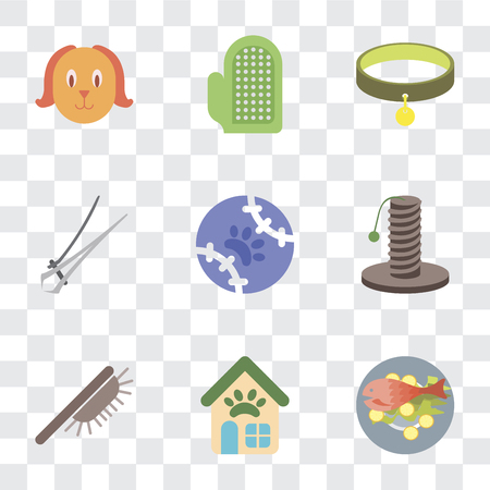 Set Of 9 simple transparency icons such as Fish food, Pet shop, Brush, Scratching, Tennis, Nail trimmer, Collar, Glove, Dog, can be used for mobile, pixel perfect vector icon pack on transparent Illustration