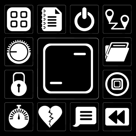 Set Of 13 simple editable icons such as Frame, Rewind, Notification, Dislike, Stopwatch, Stop, Locked, Folder, Volume control on black background