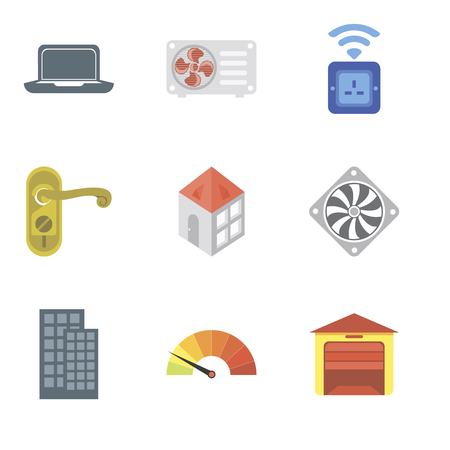 Set Of 9 simple editable icons such as Garage, Meter, Smart home, Cooler, Home, Doorknob, Socket, Air conditioner, Laptop, can be used for mobile, pixel perfect vector icon pack Ilustrace