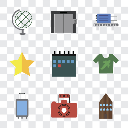 Set Of 9 simple transparency icons such as Hotel, Photography, Suitcases, Shirt, Calendar, Star, Check out, Elevator, Globe, can be used for mobile, pixel perfect vector icon pack on transparent