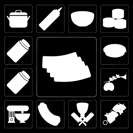 Set Of 13 simple editable icons such as Bacon, Kebab, Butcher, Hot dog, Mixer, Olives, Jam, Pie, Honey on black background