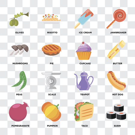 Set Of 16 icons such as Sushi, Taco, Pumpkin, Pomegranate, Hot dog, Olives, Mushrooms, Peas, Cupcake on transparent background, pixel perfect Illustration