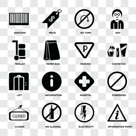 Set Of 16 icons such as Information point, Electricity, No alcohol, Closed, Forbidden, Barcode, Trolley, Lift, Parking on transparent background, pixel perfect