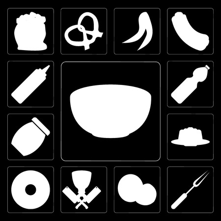 Set Of 13 simple editable icons such as Bowl, Fork, Coconut, Butcher, Doughnut, Pudding, Jam, Water, Mustard on black background