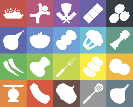 Set Of 20 icons such as Onion, Spatula, Pumpkin, Hot dog, Scale, Pistachio, Coconut, Fork, Pepper, Pasta, Cauliflower, Risotto, Butcher, web UI editable icon pack, pixel perfect