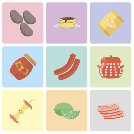 Set Of 9 simple editable icons such as Bacon, Lime, Apple, Pot, Sausage, Jam, Chips, Pancakes, Potatoes, can be used for mobile, pixel perfect vector icon pack