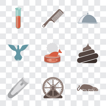 Set Of 9 simple transparency icons such as Mouse, Hamster ball, Nail clippers, Poop, Cat food, Bird, Food, Comb, Test tube, can be used for mobile, pixel perfect vector icon pack on transparent Foto de archivo - 111925503