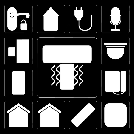 Set Of 13 simple editable icons such as Air conditioner, Meter, Remote, Smart home, Dial, Intercom, Security camera, Doorbell on black background