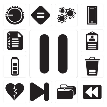 Set Of 13 simple editable icons such as Pause, Rewind, Folder, Next, Dislike, Trash, Battery, Id card, Notepad, web ui icon pack