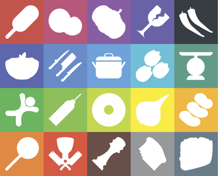 Set Of 20 icons such as Taco, Toast, Pepper, Butcher, Jawbreaker, Potatoes, Doughnut, Gingerbread, Knives, Pistachio, Ice cream, Scale, Pumpkin, web UI editable icon pack, pixel perfect