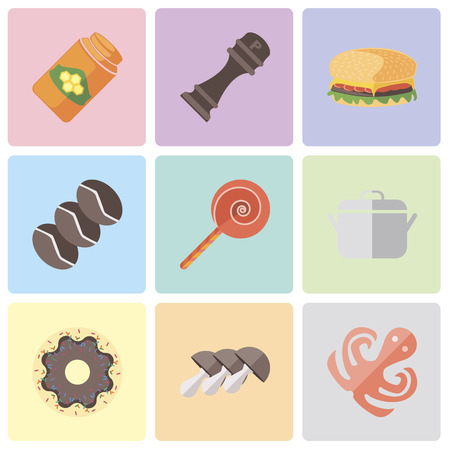 Set Of 9 simple editable icons such as Octopus, Mushrooms, Doughnut, Pot, Jawbreaker, Coffee, Hamburguer, Pepper, Honey, can be used for mobile, pixel perfect vector icon pack