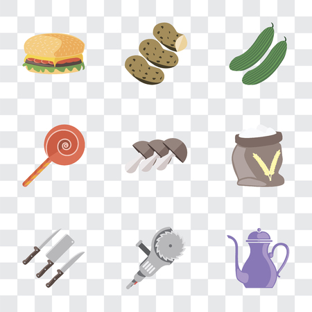Set Of 9 simple transparency icons such as Teapot, Grinder, Knives, Flour, Mushrooms, Jawbreaker, Cucumber, Potatoes, Hamburguer, can be used for mobile, pixel perfect vector icon pack on transparent Ilustrace