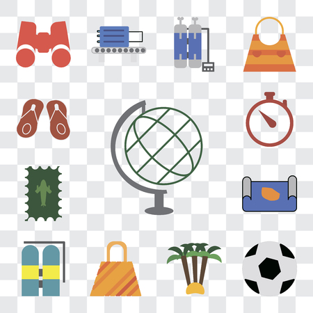 Set Of 13 transparent editable icons such as Globe, Ball, Palm tree, Bag, Aqualung, Map, Postage, Time, Flip flops, web ui icon pack, transparency set