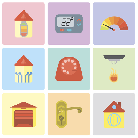 Set Of 9 simple editable icons such as Home, Doorknob, Garage, Sensor, Dial, Smart home, Meter, Thermostat, can be used for mobile, pixel perfect vector icon pack