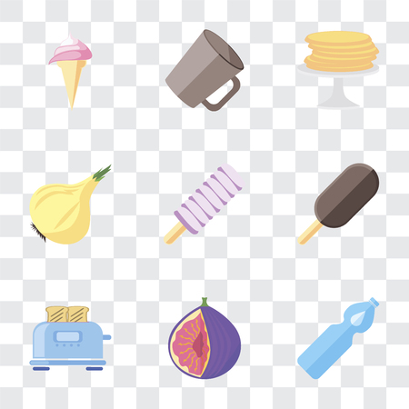 Set Of 9 simple transparency icons such as Water, Fig, Toaster, Ice cream, Onion, Pancakes, Mug, can be used for mobile, pixel perfect vector icon pack on transparent background