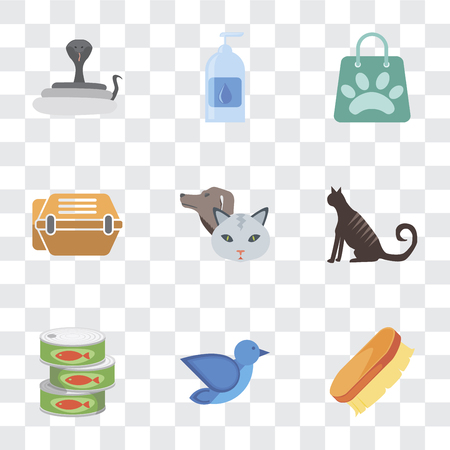 Set Of 9 simple transparency icons such as Brush, Bird, Canned food, Cat, Pet, Animal carrier, Shopping bag, Drops, Snake, can be used for mobile, pixel perfect vector icon pack on transparent