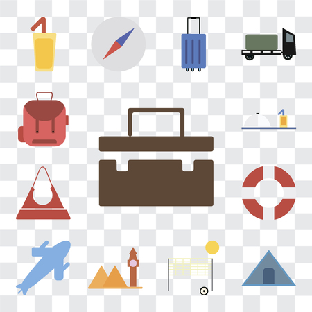 Set Of 13 transparent editable icons such as Suitcase, Tent, Beach volleyball, Landmark, Plane, Lifebuoy, Purse, Room service, Backpack, web ui icon pack, transparency set Иллюстрация
