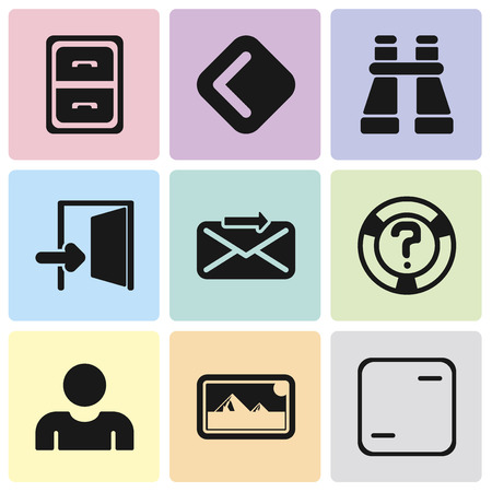 Set Of 9 simple editable icons such as Frame, Photos, User, Help, Send, Exit, Binoculars, Back, Archive, can be used for mobile, pixel perfect vector icon pack