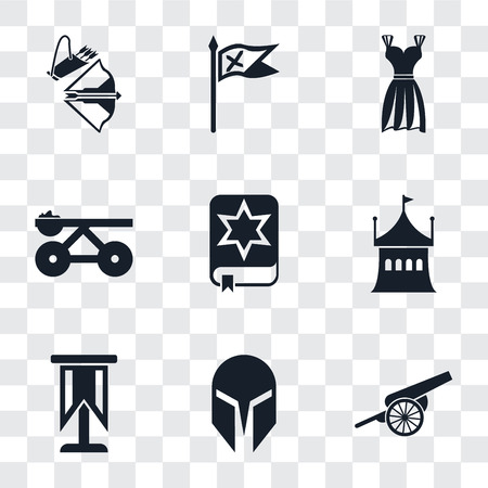 Set Of 9 simple transparency icons such as Cannon, Helmet, Standard, Tent, Spellbook, Trebuchet, Gown, Flag, Crossbow, can be used for mobile, pixel perfect vector icon pack on transparent background