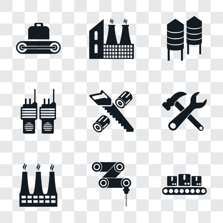 Set Of 9 simple transparency icons such as Conveyor, Drilling machine, Factory, Tools, Wood cutting, Walkie talkie, Silo, can be used for mobile, pixel perfect vector icon pack on