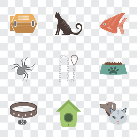 Set Of 9 simple transparency icons such as Pet, Birdhouse, Collar, Bowl, Leash, Spider, Fish, Cat, Animal carrier, can be used for mobile, pixel perfect vector icon pack on transparent background