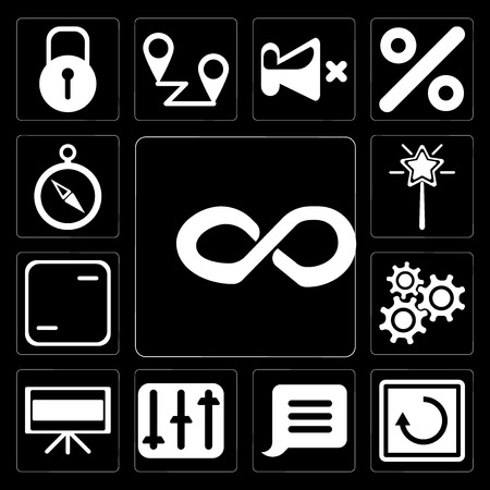 Set Of 13 simple editable icons such as Infinity, Restart, Notification, Controls, Television, Settings, Frame, Magic wand, Compass on black background