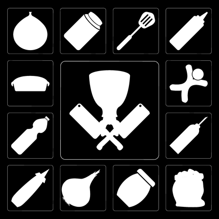 Set Of 13 simple editable icons such as Butcher, Flour, Jam, Onion, Mustard, Oil, Water, Gingerbread, Pie on black background Illustration