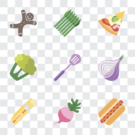 Set Of 9 simple transparency icons such as Hot dog, Radish, Butter, Onion, Spatula, Cauliflower, Pizza, Asparagus, Gingerbread, can be used for mobile, pixel perfect vector icon pack on transparent
