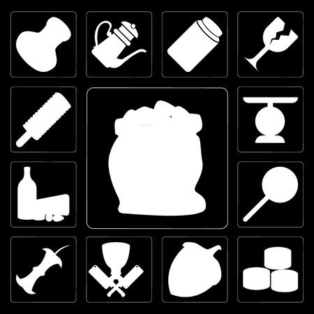 Set Of 13 simple editable icons such as Flour, Sushi, Hazelnut, Butcher, Apple, Jawbreaker, Dairy, Scale, Ice cream on black background