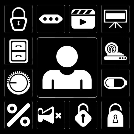 Set Of 13 simple editable icons such as User, Locked, Unlocked, Mute, Percent, Battery, Volume control, Wireless internet, Archive on black background