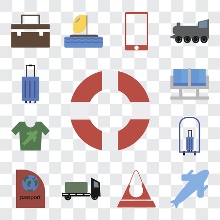 Set Of 13 transparent editable icons such as Lifebuoy, Plane, Purse, Trailer, Passport, Bellhop, Shirt, Waiting room, Luggage, web ui icon pack, transparency set Фото со стока - 111925533