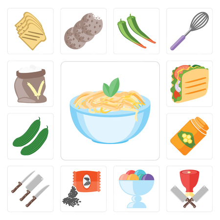 Set Of 13 simple editable icons such as Pasta, Butcher, Ice cream, Seeds, Knives, Honey, Cucumber, Taco, Flour, web ui icon pack