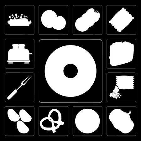 Set Of 13 simple editable icons such as Doughnut, Pumpkin, Pizza, Pretzel, Potatoes, Seeds, Fork, Taco, Toaster on black background