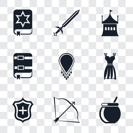 Set Of 9 simple transparency icons such as Cauldron, Bow and arrow, Shield, Gown, Necklace, Book, Tent, Sword, Spellbook, can be used for mobile, pixel perfect vector icon pack on transparent
