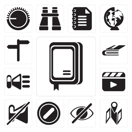 Set Of 13 simple editable icons such as Notebook, Map, Hide, Forbidden, Muted, Video player, Speaker, , web ui icon pack Illustration
