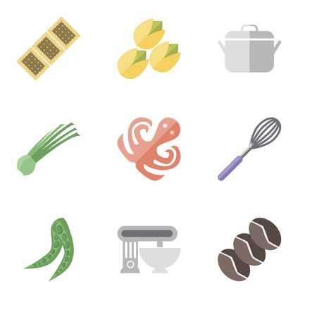 Set Of 9 simple editable icons such as Coffee, Mixer, Peas, Whisk, Octopus, Chives, Pot, Pistachio, Biscuit, can be used for mobile, pixel perfect vector icon pack
