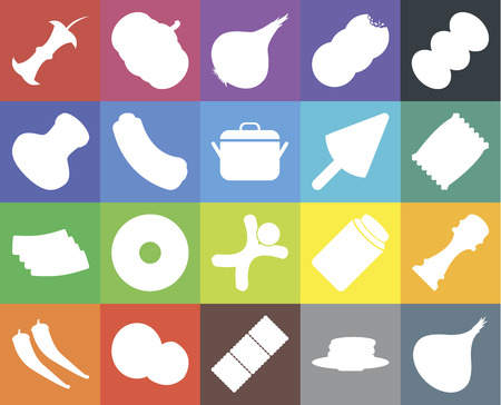 Set Of 20 icons such as Onion, Pancakes, Biscuit, Coconut, Pepper, Coffee, Gingerbread, Bacon, Hot dog, Ice cream, Apple, Chips, web UI editable icon pack, pixel perfect Illustration