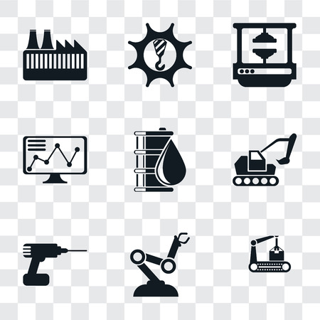 Set Of 9 simple transparency icons such as Conveyor, Robot arm, Drill, Excavator, Oil, Stock, Machine press, Machinery, Factory, can be used for mobile, pixel perfect vector icon pack on transparent Stock Illustratie