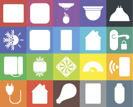 Set Of 20 icons such as Power, Intercom, Smart, Home, Plug, Lightbulb, Smartphone, Cooler, Dial, Dimmer, Browser, Handle, Sensor, web UI editable icon pack, pixel perfect