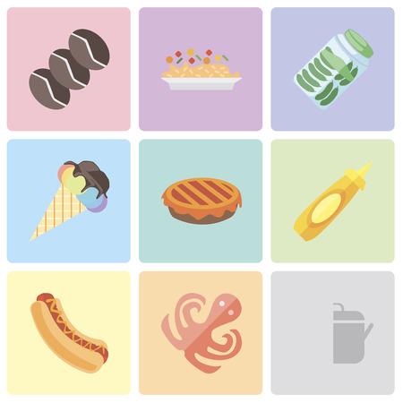 Set Of 9 simple editable icons such as Pot, Octopus, Hot dog, Mustard, Pie, Ice cream, Pickles, Risotto, Coffee, can be used for mobile, pixel perfect vector icon pack