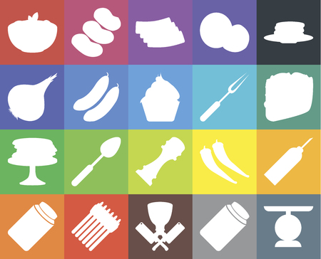 Set Of 20 icons such as Scale, Pickles, Butcher, Asparagus, Honey, Pancakes, Oil, Pepper, Cucumber, Fork, Pasta, Taco, Bacon, web UI editable icon pack, pixel perfect