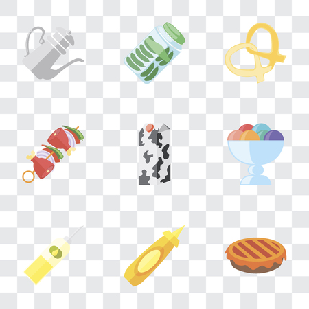 Set Of 9 simple transparency icons such as Pie, Mustard, Oil, Ice cream, Milk, Kebab, Pretzel, Pickles, Teapot, can be used for mobile, pixel perfect vector icon pack on transparent background Banque d'images - 111925551