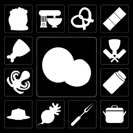 Set Of 13 simple editable icons such as Coconut, Pot, Fork, Radish, Pudding, Honey, Octopus, Butcher, Ham on black background