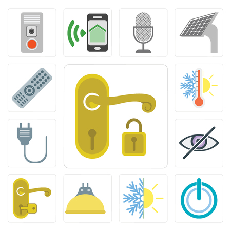 Set Of 13 simple editable icons such as Handle, Power, Heating, Lightbulb, Blind, Plug, Thermostat, Remote, web ui icon pack Banque d'images - 111925553