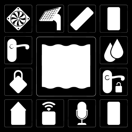 Set Of 13 simple editable icons such as Deep, Smart home, Voice control, Socket, Home, Handle, Locking, Water, Doorknob on black background Ilustrace