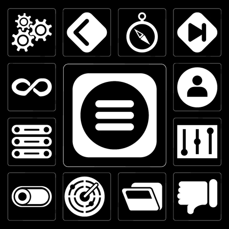 Set Of 13 simple editable icons such as Menu, Dislike, Folder, Radar, Switch, Controls, Database, User, Infinity on black background Illustration