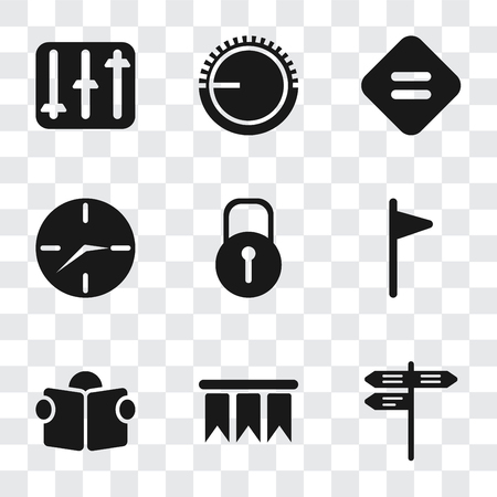 Set Of 9 simple transparency icons such as Street, Bookmark, Reading, Flag, Locked, Clock, Equal, Volume control, Controls, can be used for mobile, pixel perfect vector icon pack on transparent
