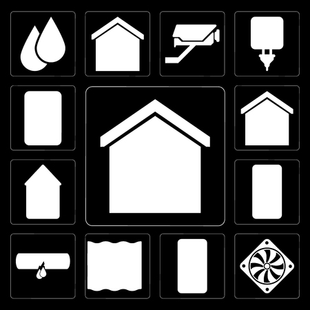 Set Of 13 simple editable icons such as Smart home, Cooler, Deep, Leak, Smartphone, Home, Plug on black background