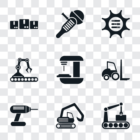 Set Of 9 simple transparency icons such as Conveyor, Digger, Drill, Forklift, Machine, Options, Sanding machine, Packages, can be used for mobile, pixel perfect vector icon pack on
