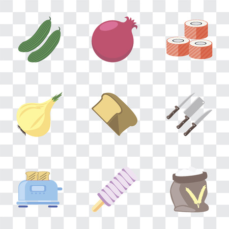 Set Of 9 simple transparency icons such as Flour, Ice cream, Toaster, Knives, Bread, Onion, Sushi, Pomegranate, Cucumber, can be used for mobile, pixel perfect vector icon pack on transparent